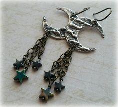 Moon Dangle Earrings Crescent Moon Moon Jewelry by SeekingEmber