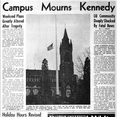 The front page from Nov. 26, 1963 reporting the assassination of JFK. Today we remember the late President.