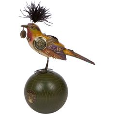handmade steampunk bird on croquet ball, made in usa. from MUSEUM OUTLETS