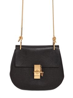 CHLOÉ Small Drew Grained Nappa Leather Bag, Black. #chloé #bags #shoulder bags #suede #