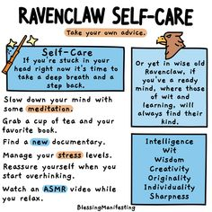 What's your Hogwarts House self-care? Check out the self-care ideas for Hufflepuff, Ravenclaw, Slytherin, and Gryffindor! Estilo Harry Potter, Mundo Harry Potter, Harry Potter Fandom, Harry Potter World, Harry Potter Hogwarts, Harry Potter Memes, Harry Potter Houses Traits, Potter Facts, What's Your Hogwarts House