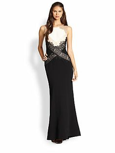 BCBGMAXAZRIA Aida Lace-Paneled Colorblock Crepe Gown - at Saks