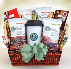 Coffee Gift Baskets - Starbucks On the Go Gourmet Coffee Gift Basket. This gift will be a hit for the Starbucks coffee lover on the go. The hot/cold durable travel mug will be a daily favorite and comes with four types of coffee: French Roast, Caffe Verona, House Blend and Sumatra, two types of Starbucks VIA ready brew, and caramel chocolate biscotti.