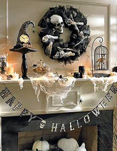"""Welcome the Halloween season into your home with the """"Happy Halloween"""" Banner festively adorns your mantle or doorway during your Halloween party."""