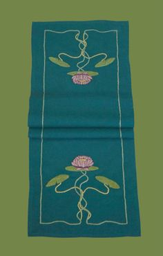 Arts & Crafts Stitches Craftsman Style Textiles, Hand Embroidery, Water Lily Table Runner www.acstitches.com