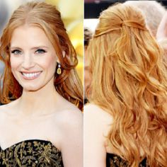 Jessica Chastain 2012 Oscar Hair. Obsessed