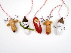 Rentier, Elch, Schneemann & Weihnachtsmann aus Erdnüssen zu Weihnachten basteln