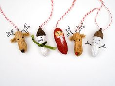Christmas Garland  funny painted peanut by RawBoneStudio on Etsy, $26.50