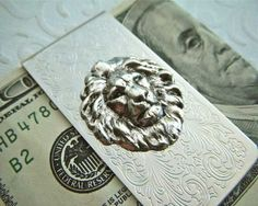 Lion Money Clip / Silver Plated Lion Money Clip Gothic Victorian Classic Steampunk Vintage Style With Antiqued Silver Raised Relief Lion Head Popular Slim Size Men's Accessories & Leo Gifts Victorian Scroll Pattern Fancy Popular Money Clips. http://thegadgetflow.com/portfolio/lion-money-clip-170/