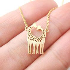 Love giraffe necklace cute giraffe pendant necklace by ExoticOwl, $14.80