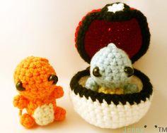 crochet keychain - Pokemon Starter Set of 2. $19.00, via Etsy.