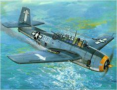 Grumman TBM-3 Avenger del VT-17 regresa al U.S.S. Bunker Hill después de que el fuego antiaéreo japonés dañara una de sus alas, el 19 de febrero de 1945. Don Greer. Más en www.elgrancapitan.org/foro/
