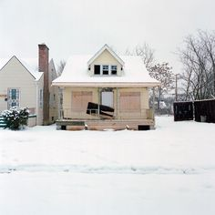 abandoned house building in the snow / urban exploration  love the pastel colors
