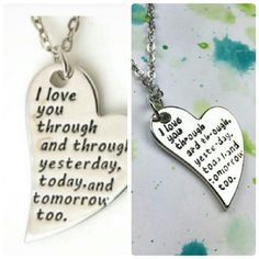 """Wila heart shaped inscription necklace Heart shaped silver pendant necklace with the inscription i love you through and through, yesterday, today, and tomorrow too. Size:16-18"""" Material:alloy wila Jewelry Necklaces"""