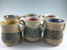Handmade Pottery Coffee Mugs Speckled Mugs by ZwellynPottery
