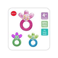 Cool relief for the molars thanks to the unique shape of the water-filled part.Also the varied surface gives babies a choice of cooling solutions. #MAM Cooler Teether Pink, Blue, Green