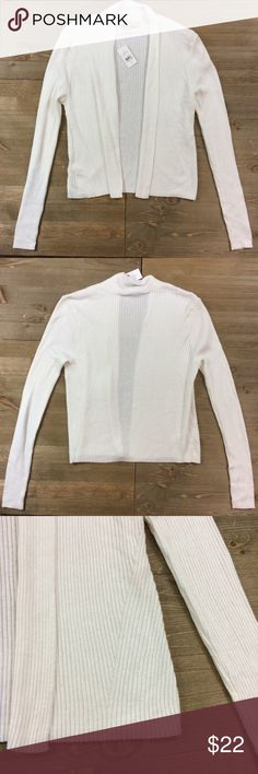 NWT Ann Taylor LOFT Cropped Cardigan New with tags. White ribbed cropped open front cardigan. 50% Cotton 40% Rayon 10% Silk LOFT Sweaters Cardigans