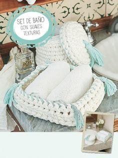 Set con suaves texturas - Crochet totora