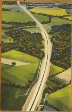 "Vintage Pennsylvania Turnpike postcard. ""View of the Straightaway through Lebanon County."" (eBay)"