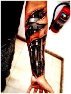 Cool Bio-mechanical Tattoo designs: Artists Biomechanical Tattoo Design On Arm ~ Tattoo Design Inspiration