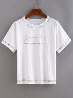 Binding Letter Print T-shirt - White