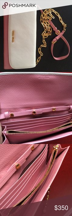 💯Authentic Miu Miu Bicolor Chain Wallet Authentic Miu Miu Madras Bicolore chain/cross body wallet with shiny chain Like New condition. The actual size is 8.5(h)x4(h)X1(w) in. The chain is removable, which makes it a wallet that can fit into a bigger size purse. The inner zipper is a bit not smooth since I only used it 1-2 times after bought it few years ago. Price dropped low as I can't locate the original box or dust bag when we moved. Sorry. :( Miu Miu Bags Wallets