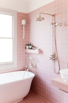 2LG Studio - Pink bathroom look: Tile Giant Victorian Pink tiles and products from Victoria + Albert baths.