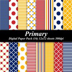 Primary Digital Paper Pack (16) 12x12 sheets 300 dpi scrapbooking invitations red blue yellow white