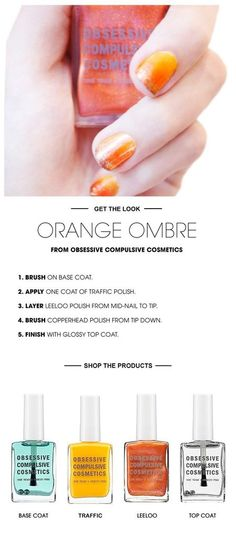 Orange Ombre Nail how to #tutorial #howto #orange #nails #Ombrenails - bellashoot.com