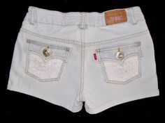 JR'S LEVI'S JEAN SHORTS CUT OFF CUFF DIY UP-CYCLE LACE BLING SIZE XS 0 to1~14    #Levis #Denim