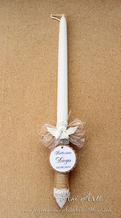 Personalized BAPTISM Candle Christening Candle First by AniArts
