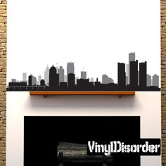 Detroit Michigan Skyline Vinyl Wall Decal or Car Sticker Vinyl Fabric, Detroit Michigan, Michigan Travel, Fancy Houses, Room Goals, Car Stickers, Vinyl Wall Decals, Modern Buildings, House Rooms