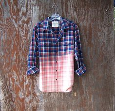 Unisex bleached grunge flannel shirt hipster long by GloriousMorn