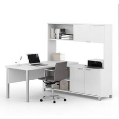 Bestar Pro-Linea L-Desk with Hutch, White