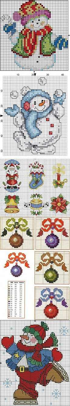 схемы вышивки снеговиков, санты, елочек, игрушек... Christmas Cross, Santa Christmas, Christmas Balls, Christmas Ornament, Winter Christmas, Santa Cross Stitch, Counted Cross Stitch Patterns, Cross Stitch Designs, Cross Stitch Charts