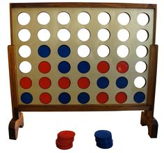 Giant 4 is the classic 4 in a row game resized to giant proportions. This game measures almost 3' wide and 2' tall. The coins are 3' in diameter.