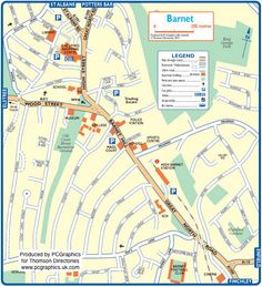Map of Barnet created in 2011 for Thomson Directories. One of approximately 350 UK town and city maps produced royalty free. Find out more...  http://www.pcgraphics.uk.com   or read our blog...    http://www.pcgraphics.uk.com/blog/