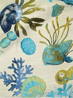 "Sanibel Lagoon - Luxury tapestry jacquard fabric. Sea life shell and coral pattern fabric. Thick and soft. Perfect for upholstery, drapery, top of the bed or any home décor fabric project. Contents 16% Viscose, 84% Polyester. Repeat; V 19.25"" x H 2.75"". 54"" wide."