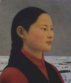 xue mo artist   Xue Mo, Qumuge, 2001, oil on canvas, 23 x 20 inches