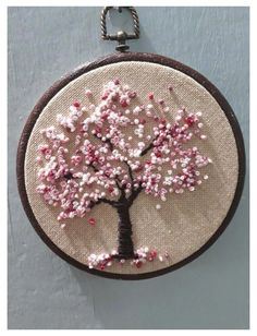 Pin by Simple Embroidery by Lorna on Silk Ribbon Embroidery Designs Embroidery hoop Cherry Blossoms, hand embroidered hand made one of a kind pink b.Hoop art Indian Jewellery machine embroidery linen with - Salvabranihow to make french knots embroideryhan French Knot Embroidery, Hand Embroidery Videos, Embroidery Stitches Tutorial, Embroidery Flowers Pattern, Hand Embroidery Stitches, Embroidery Techniques, Ribbon Embroidery, Beginner Embroidery, Embroidery Ideas