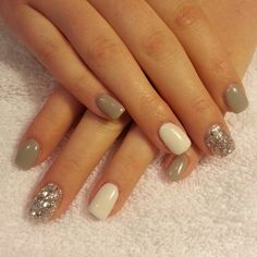 Gray and white gel with silver glitter