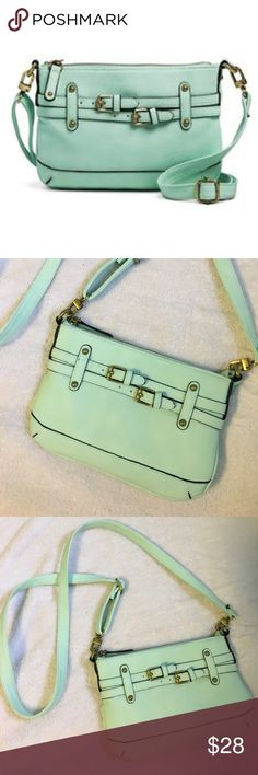 "Merona • Time Collection mint cross body handbag NWOT Merona Timeless Collection crossbody bag with removable strap. Color is ""junior mint."" Gorgeous light mint green color. Vegan leather. Soft leather feel. New. No flaws, no wear. 9.5"" x 6.5"". Drop length 30"". Merona Bags Crossbody Bags"