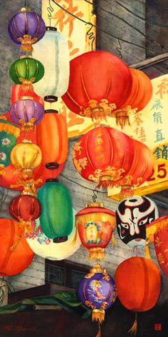 I have finished this new large painting, x I have been working on inspired by the lanterns outside a funerary shop on Peel Street in Hong Kong. Sketchbook Inspiration, Art Sketchbook, Chinoiserie, Paper Artwork, Chinese Lanterns, Chinese Culture, Paper Lanterns, Large Painting, Watercolor Paintings
