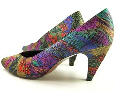 Image detail for -... Damask SHOES Jewel Tone Watercolor Fabric Pumps Heels Size 8 Narrow