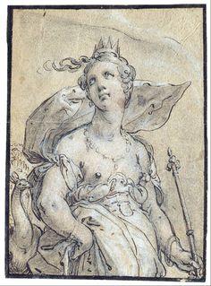 Hendrik Goltzius  Juno  1596  wash drawing  Museum Kunstpalast, Düsseldorf