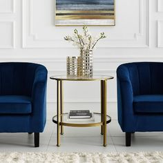 Crosley Furniture Aimee Side Table in Gold Gold End Table, Mirrored Side Tables, Glass End Tables, Table Decor Living Room, Living Room Sofa, Bedroom Decor, Tempered Glass Shelves, Round Side Table, Nebraska Furniture Mart