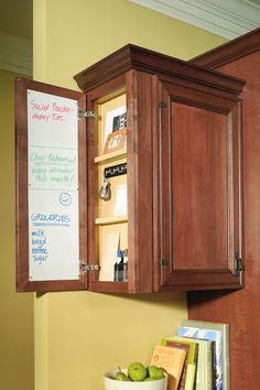 A Wall Message Center cabinet can be the perfect way to end a cabinet run, and keep up with everyone who's on the run at the same time!