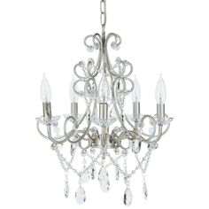 """- Dimensions of Chandelier: 15.5"""" (L) x 15.5"""" (W) x 15.5"""" (H) - Authentic K9 Glass crystals (Not plastic or acrylic); Wrought iron frame - Features 5 Lights, UL Listed (Uses 25 Watt Candelabra bulbs/E"""