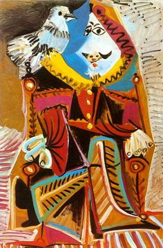 Pablo Picasso - Musketeer with Dove 1969 Pablo Picasso, Picasso Cubism, Picasso Paintings, Paintings I Love, Beautiful Paintings, Oil Paintings, Cubist Movement, Spanish Artists, Human Art