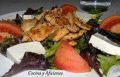 Ensalada con pollo adobado, receta paso a paso.